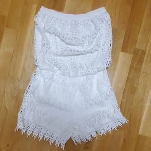 SOLITAIRE SWIM  WHITE ROMPER